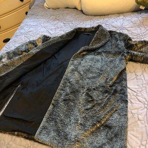 Lafayette 148 New York Faux Fur Jacket Silver Grey